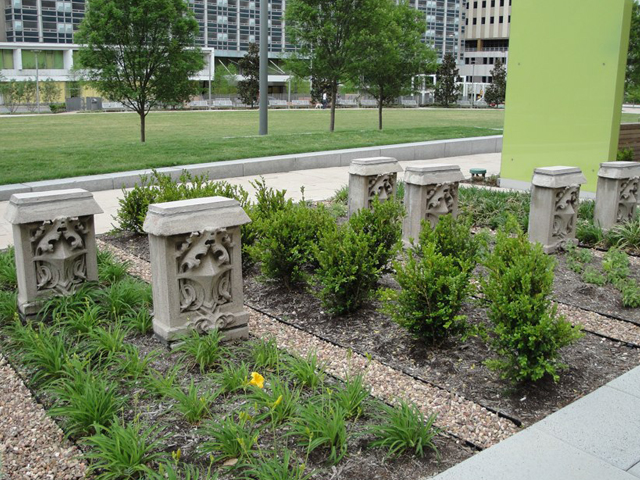 Preserved architectural elements displayed in Main Street Garden