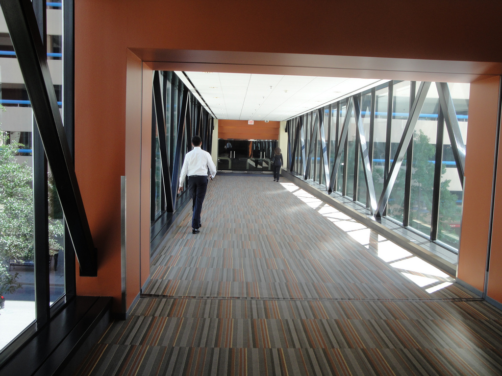 Interior of skywalk leading to the Elm Street Garage
