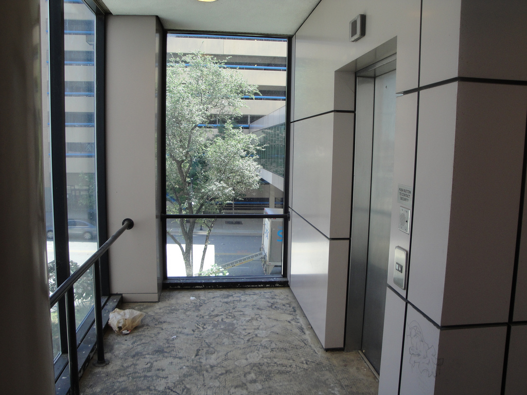 Elevator in Harwood skybridge