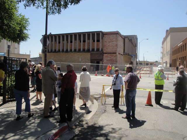 Crowds gather to watch demolition