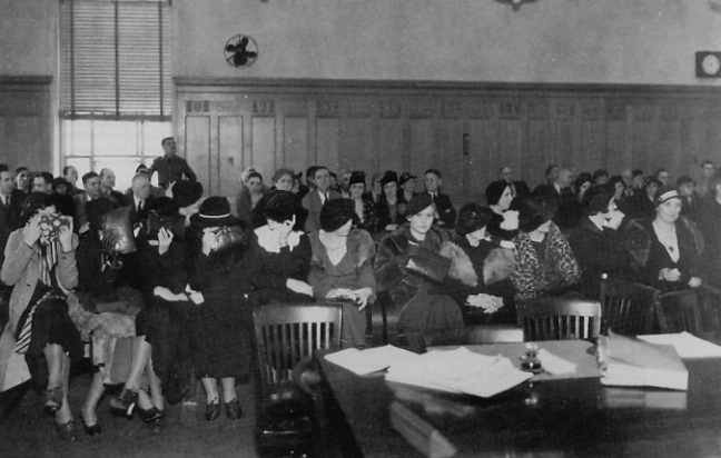 Women sitting in courtroom
