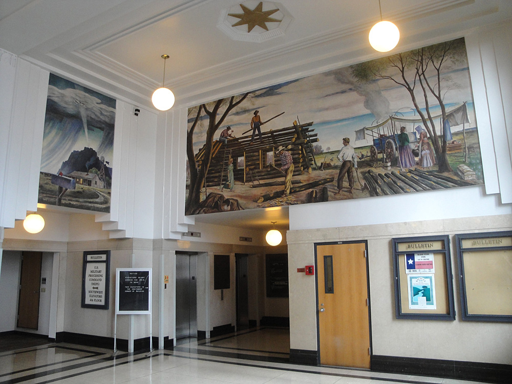 Two murals in building lobby