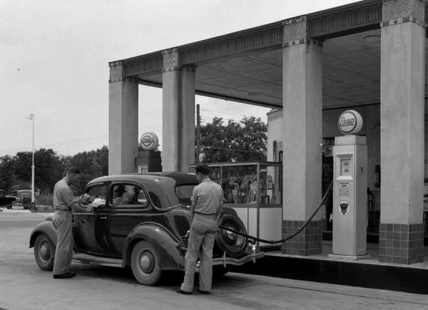 Historic photo of gas pumps