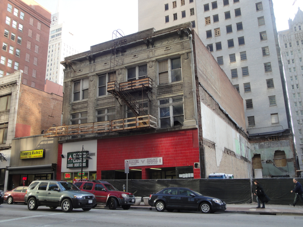 As the Joule Hotel underwent a large expansion, the Hite Building (foreground) and Praetorian Building (behind) were prepared for demolition