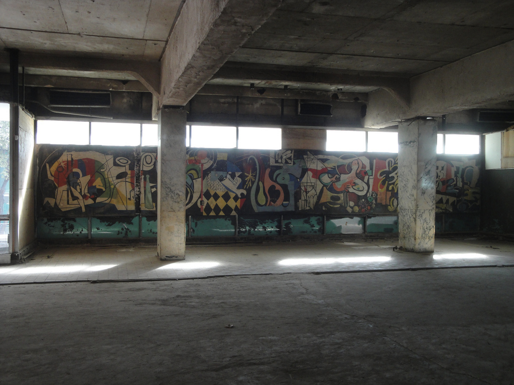An original mural by Jack Lubin was rediscovered in the former Empire Room of the Statler Hilton
