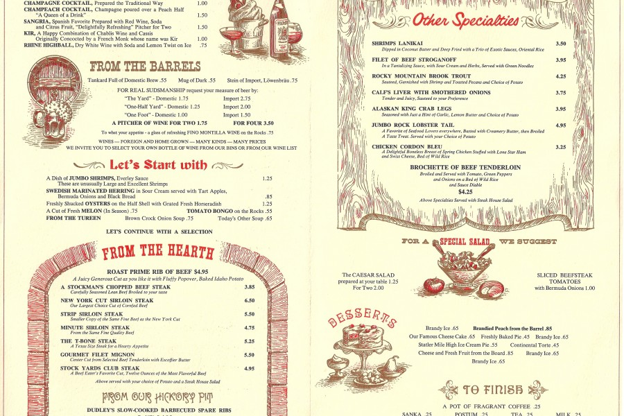 The Statler Steak House Menu